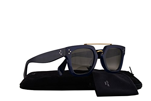 Celine CL41077/S Bridge Sunglasses Blue w/Brown Gradient Lens 47mm M23Z3 CL41077S CL - Square Aviators Celine