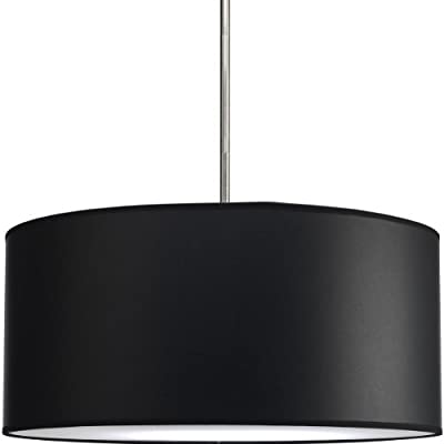Progress Lighting P8824-01 Modular Pendant System Choose Shade and 1-Light Stem (P5198) or 3-Light Stem (P5199) To Make Complete Fixture 22-Inch Drum Shade, Black Parchment Paper