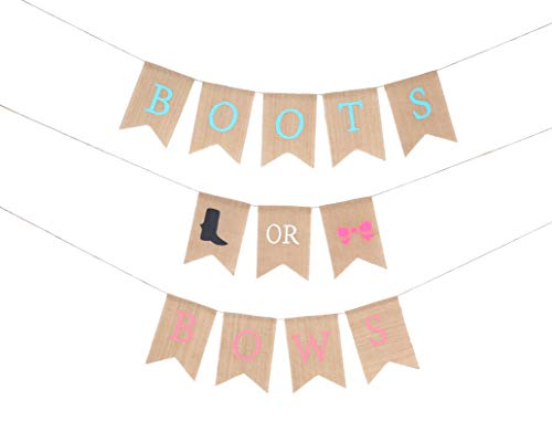 Baby Gender Reveal Party Supplies - Burlap Banner for Gender Reveal,Perfect Gender Reveal Ideas Theme, Boy or Girl Banner for Party Decorations, Unique Baby Shower Ideas -