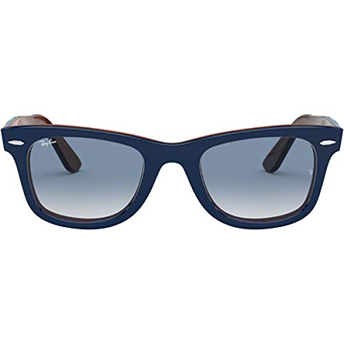 Sunglasses Ban Ray History - Ray-Ban Men's Wayfarer Square Sunglasses, Top Blue on Red Havana, 52.1 mm