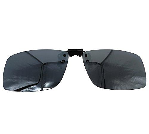 (YAONYA Polarized Clip-on Flip up Metal Clip Sunglasses Unbreakable Driving Fishing Cycling (Silver Revo-Big))