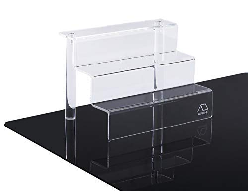 WINKINE 2 Pack Clear Acrylic Riser Display Shelf for Amiibo Funko POP Figures, 3-Tier Cupcakes Stand for Cabinet, Countertops, Table, Small(9x6 inch) Countertop Acrylic Display Stand