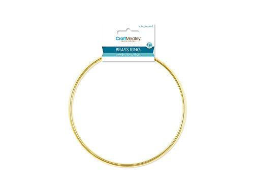 Craft Medley WR112 1 Piece Round Brass Rings, 12