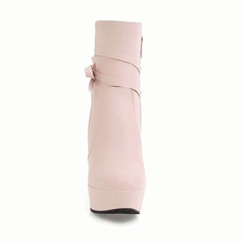 Zip Elegant Platform Dress Pink Boots Women's Bow Carolbar nIqfwBOx