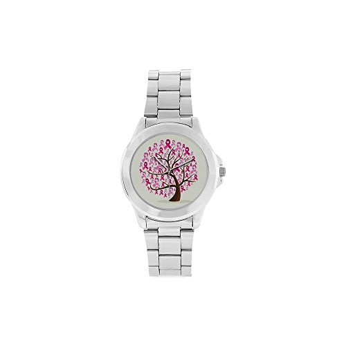 Thanksgiving Day Gift Breast Cancer Awareness Pink Ribbon Unisex Stainless Steel Watch by Pink Ribbon Watch