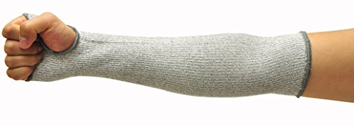 G & F 58122L CUTShield 14-Inch Long Sleeve, Cut Resistant Level 5, Slash Resistant with thumb hole, Grey
