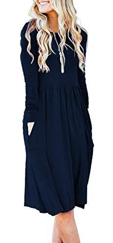 Women Pockets Empire Waist Loose Swing Casual Midi Winter Dress with Sleeve (XL,Navy Blue)