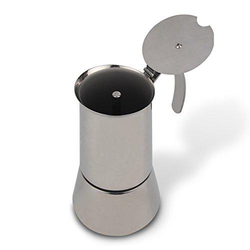 XIHAO Stainless Steel Stovetop Espresso Maker 10 Cup Silver Italian Moka Coffee Pot