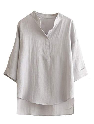 Manica Tshirts Ragazza Base Estivi Tops Sciolto Basso Vintage 3 Chic Moda Donna Lino Shirts Puro Magliette Casual Grau Colore Alto Shirt 4 UqwRZxwp