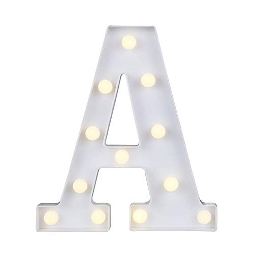 Marquee Letter Lights,26 Alphabet Light Up Marquee Letters Sign Battery Powered Christmas Night Light Wall Desktop Lamp for Festival Decorative Wedding Birthday Home Party Bar Decoration A