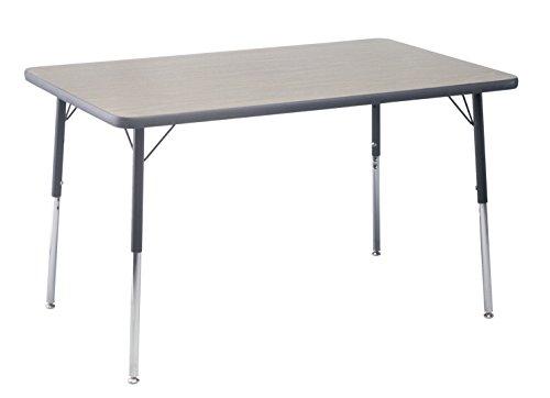 Classroom Select Apollo T-Mold Adjustable Table, Rectangle, 30 x 60 Inches, Top Color: Gray Nebula/Edge Color: Black