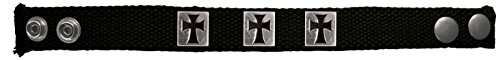 Stamped Crosses Black and Silver Canvas Mens Christian Bracelet