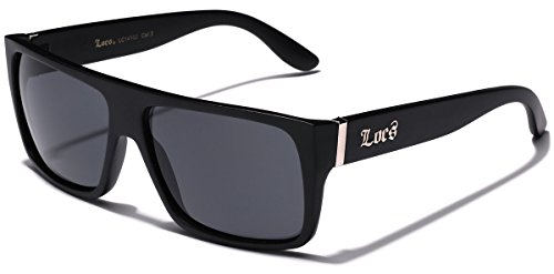 LOCS Super Flat Top Wayfarer Style Original Gangsta Shades Hardcore Sunglasses - Matte - Mens Locs