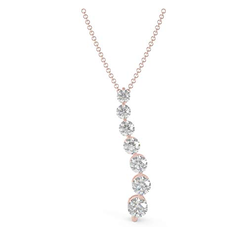 Journey 7 Diamond Stone Pendant (Frostrox 14K Rose Gold 0.70 Carat Seven-Stone Round Brilliant-Cut (J-K Color, I1-I2 Clarity) Journey White Diamond Pendant for Women)