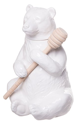 Bear Honey Jar (Charming Ceramic Bear Honey Pot with Bamboo Honey Dipper, White, 7-inch)