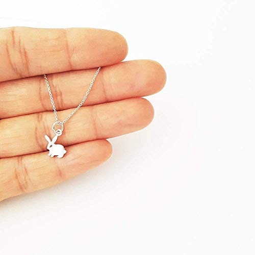 Tiny Sterling Silver Cutout Bunny Rabbit Necklace 18