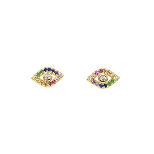 ATJMLADYJEWELRY 925 Silver Colorful Rainbow Turkish Evil Eye Stud Earring Lucky Girl Minimal Jewelry ()