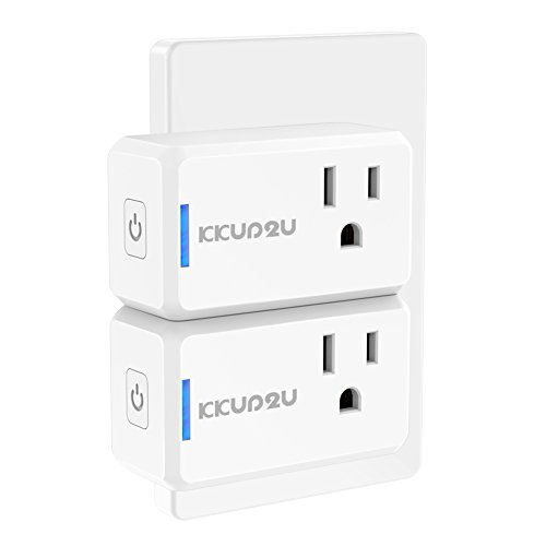 Smart Plug 2-Pack Upgraded Mini WiFi Smart Socket Outlet Work with Amazon Alexa Echo/Google Assistant and IFTTT, No Hub Required by KKUP2U