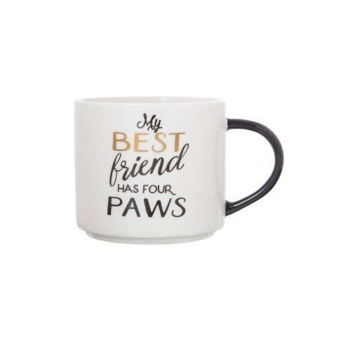 Stackable 15oz Porcelain Mug by Clay Art (My Best Friend Has Four Paws)