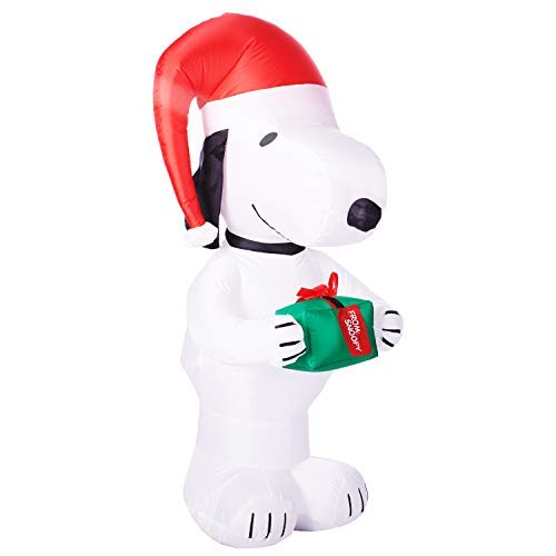 MISC Peanuts Snoopy Christmas Inflatable Holding Present -
