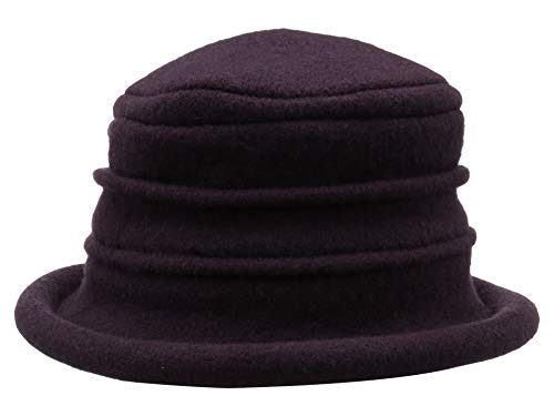Scala Women's Packable Boiled Wool Cloche, Plum, One Size ()