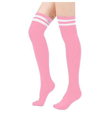 J.Ann Women's 1 Pair/Pack Over Knee High Socks W. 2 White Stripes, Sock Size 9-11 (Pink) Ann Wide Leg