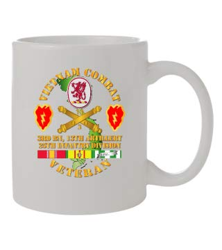Coffee Mug 11oz - Army - Vietnam Combat Veteran w 3rd Bn 13th Artillery DUI - 25th ID SSI - Front & Back Design