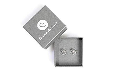 Chrysmela Catch Yellow Gold most secure high tech earring lock earring back replacement for all types of earring posts auto adjustable auto locking hypoallergenic patented in 5 countries