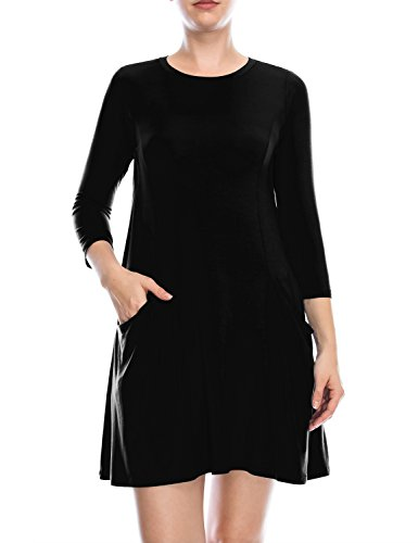ALL FOR YOU Womens 34 Sleeve Front Pockets Round Neck Casual Flowy Tunic Dress Black Small