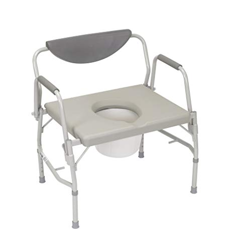 (Drive Medical Deluxe Bariatric Drop-Arm Commode, Grey)