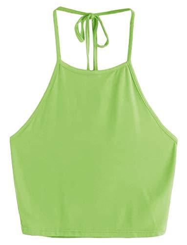 - Romwe Women's Casual Cute Sleeveless Vest Halter Cami Crop Top Green S