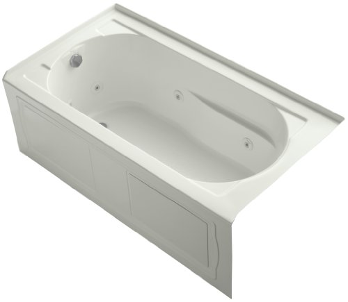 KOHLER K-1357-HL-NY Devonshire 60-Inch x 32-Inch Alcove Whirlpool with Heater, Integral Apron, Tile Flange and Left-Hand Drain, Dune ()