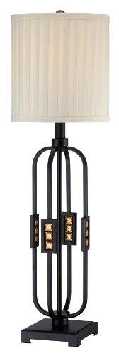 Lite Source LS-22165 Topaz Table Lamp, Mirror Body, Fabric Shade