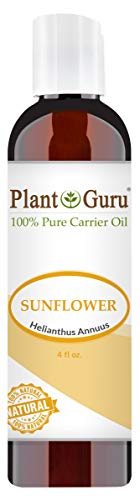 Sunflower Oil 4oz. Cold Pressed 100% Pure Natural Carrier - Skin, Body And Hair Moisturizer. Works For Massage, Aromatherapy, More!