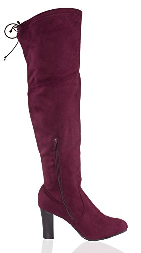 Knee Women's Albert High Charles Heeled The Over Thigh Suede Stacked Boot Burgundy 50dwqw6