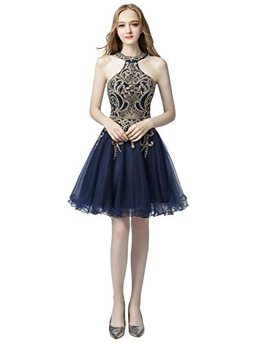 (Sarahbridal Womens Halter Prom Party Dress Short 2019 Gold Applique Beaded Cocktail Homecoming Gowns Navy Blue US4)