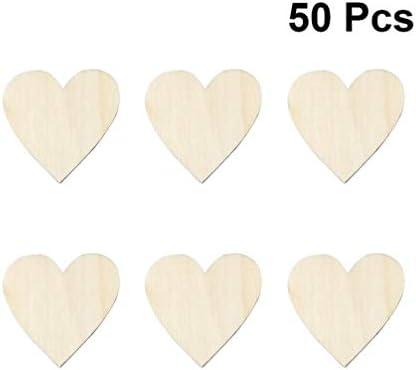 Amosfun 100ピースハート形木製スライスdiy木製クラフト木製ピースウェディングパーティーの装飾バレンタインデー婚約パーティー用品5メートル