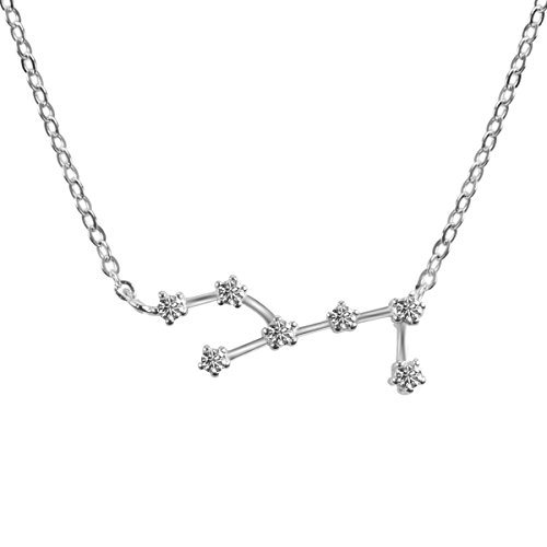 Horoscope Plated Silver Necklace Zodiac Sign Pendant Constellation Charm - Astrology Choker (Virgo Zodiac Pendant Necklace)