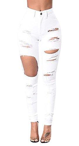 Ermonn Women's Butt Lift ripped hole Slimming Stretch Skinny Jeans white black (XX-Large, White)