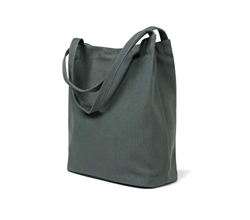 (Canvas Tote Bag Handbag Double Handle Bag With Zipper For Men And Women (Grey)