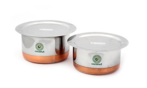 KCL Coconut Stainless Steel Copper Base Tope and Lid Cookware, 1500 and 2000 ml , White  Set of 2