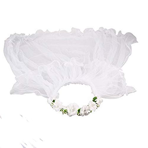 GSCH Girls' First Communion Veils Wreath Wedding Flower Pearls Crystal Lace Veil Hair Accessory 2 Tier (White with Flower)