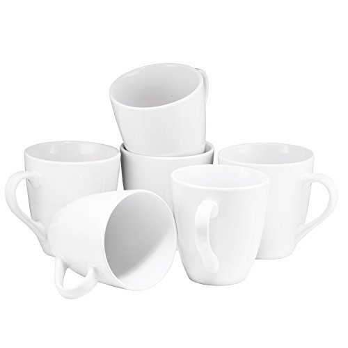 Coffee Mug Set Set of 6 Large-sized 16 Ounce Ceramic Coffee Mugs Restaurant Coffee Mugs By Bruntmor (White)