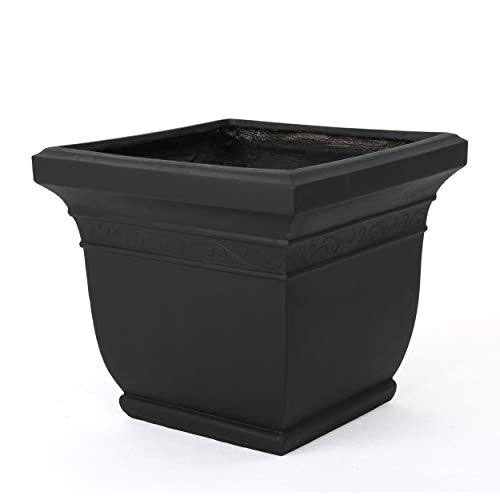 Christopher Knight Home Sally Outdoor Matte Black Finished Cast Stone Planter