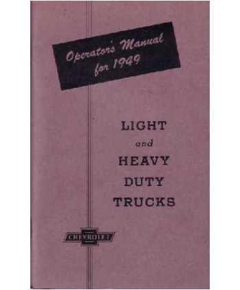 1949 CHEVROLET TRUCK Full Line Owners Manual User (Chevrolet Canopy)