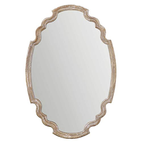 Uttermost 14483 Ludovica Oval Mirror, Natural Wood Framed
