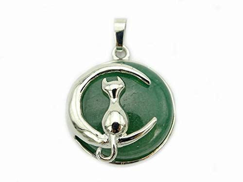- jennysun2010 Natural Green Aventurine Gemstone Cat and Moon Reiki Chakra Healing Pendant Charm Beads Silver Plated 1 Piece per Bag for Necklace Earrings Jewelry Making Crafts Design