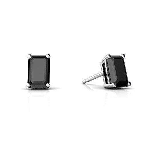 6x4 Gold 14kt Emerald (14kt White Gold Black Onyx 6x4mm Emerald_Cut Emerald-Cut Stud Earrings)