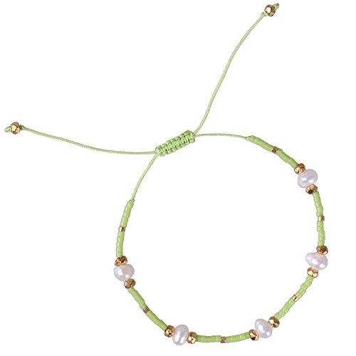 Seed Pearl (KELITCH Boho Hawaiian Friendship Bracelet Synthetic-Pearl Seed Bead Tiny Dainty Chain - G)