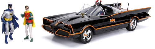 DC Comics Classic TV Series Batmobile Die-cast Car, 1:18 Scale Vehicle& 3 Batman & Robin Collectible Figurine]()